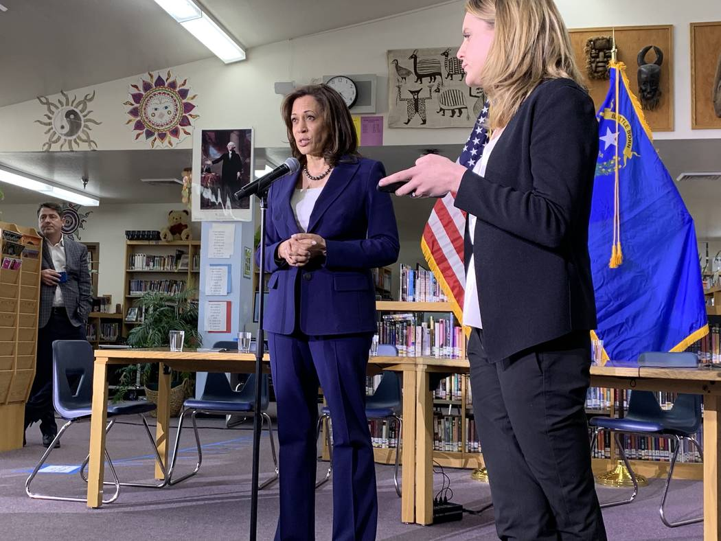Calfornia Sen. Kamala Harris, a Democratic presidential candidate, took questions from reporter ...