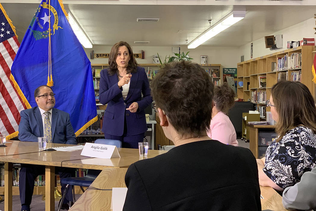 Calfornia Sen. Kamala Harris, a Democratic presidential candidate, responds to a question at a ...