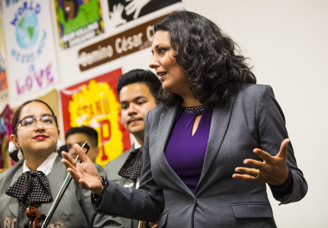 Former assemblywoman Olivia Diaz, a Las Vegas City Council candidate for Ward 3, addresses supp ...