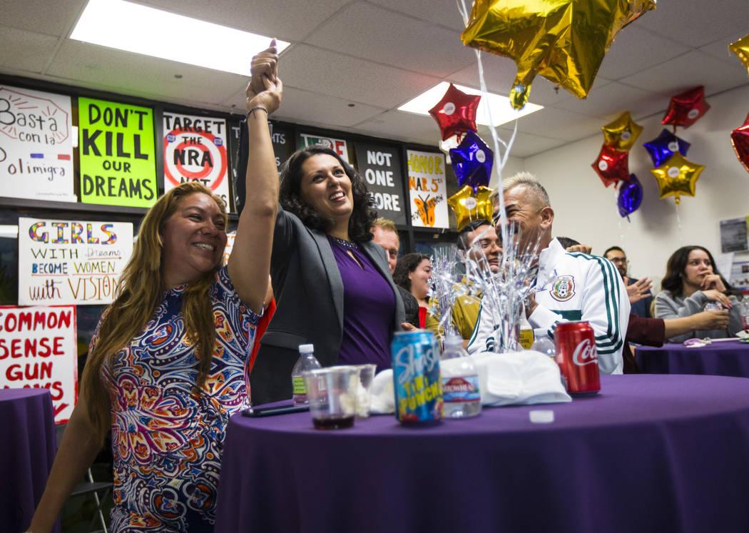 Areli Sanchez, left, celebrates with former assemblywoman Olivia Diaz, a Las Vegas City Council ...