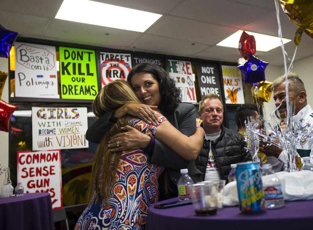 Areli Sanchez, left, hugs former assemblywoman Olivia Diaz, a Las Vegas City Council candidate ...