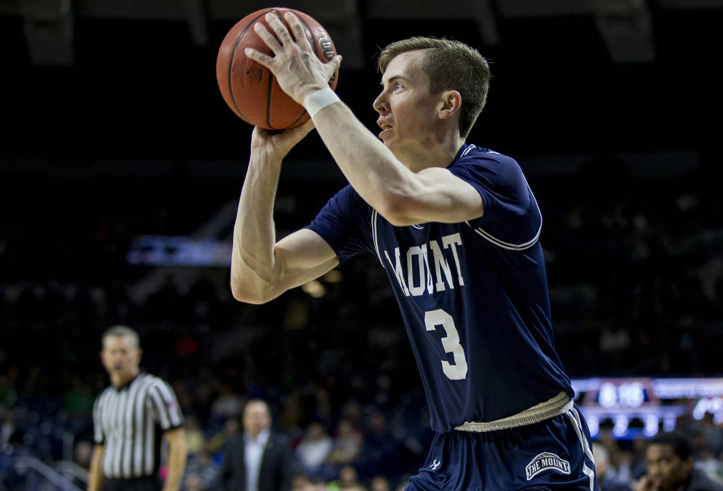 Mount St. Mary's Jonah Antonio (3) shoots a 3-pointer during the second half of an NCAA college ...