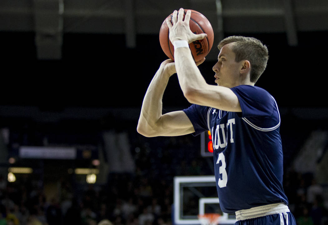 Mount St. Mary's Jonah Antonio (3) shoots a 3-pointer during the first half of an NCAA college ...