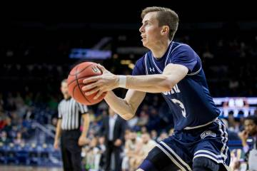 Mount St. Mary's Jonah Antonio (3) shoots a three-pointer during the second half of an NCAA col ...