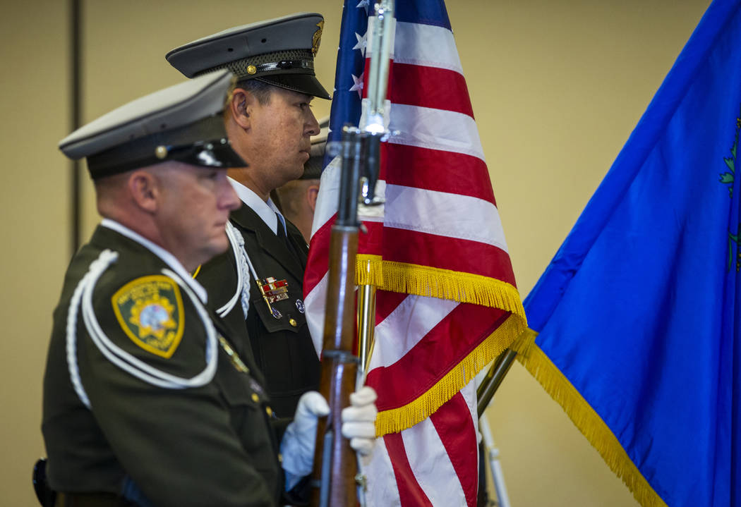 The Metropolitan Police Department honor guard presents the colors opening a commendation cerem ...
