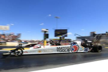 A dragster makes a pass during the Denso Spark Plugs Nationals at The Strip at Las Vegas Motors ...