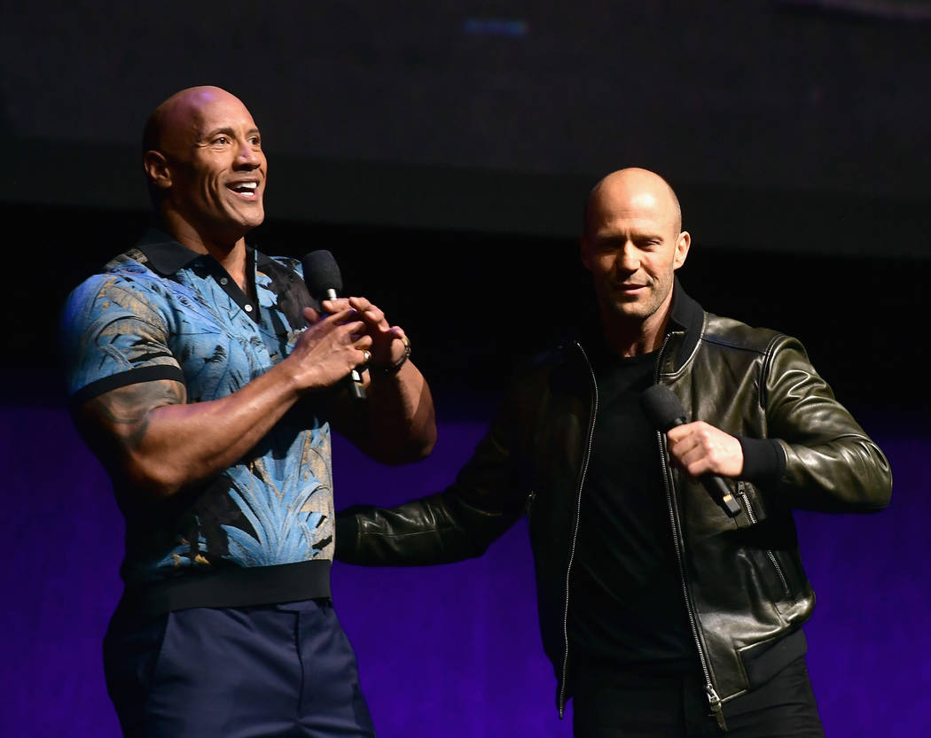 Dwayne Johnson and Jason Statham speak onstage at CinemaCon 2019 Universal Pictures Invites You ...