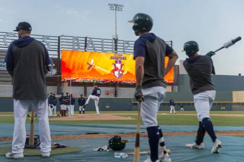 Aviators players wait on deck during batting practice at media day at Las Vegas Ballpark on Tue ...