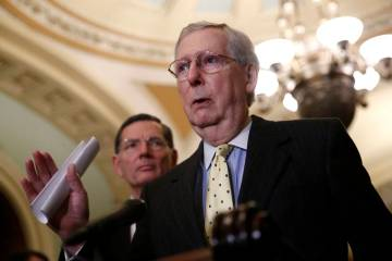 Senate Majority Leader Mitch McConnell of Ky., speaks to members of the media following a Senat ...