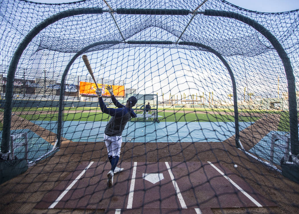 Aviators players take batting practice during media day at Las Vegas Ballpark on Tuesday, April ...