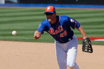 Eric Campbell of the Las Vegas 51s is shown playing for the New York Mets in an exhibition game ...