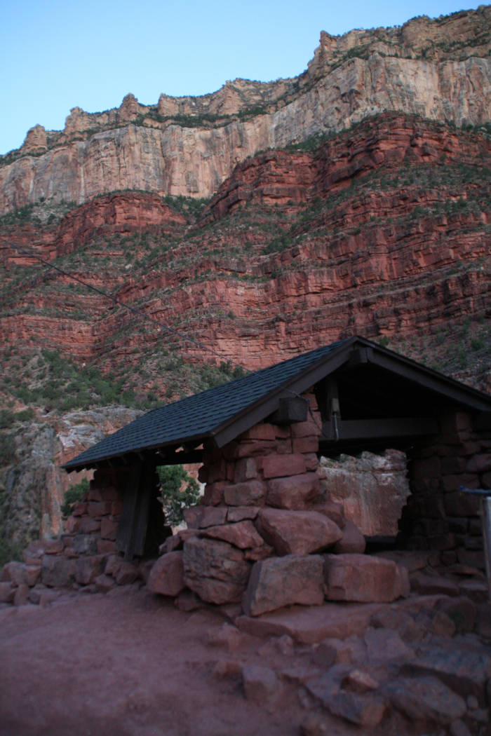 There are three resthouses for hikers along the Bright Angel Trail, constructed of native stone ...