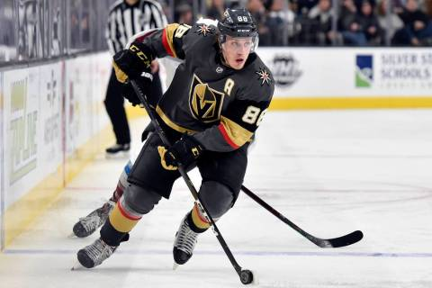 Vegas Golden Knights defenseman Nate Schmidt skates with the puck against the Colorado Avalanch ...