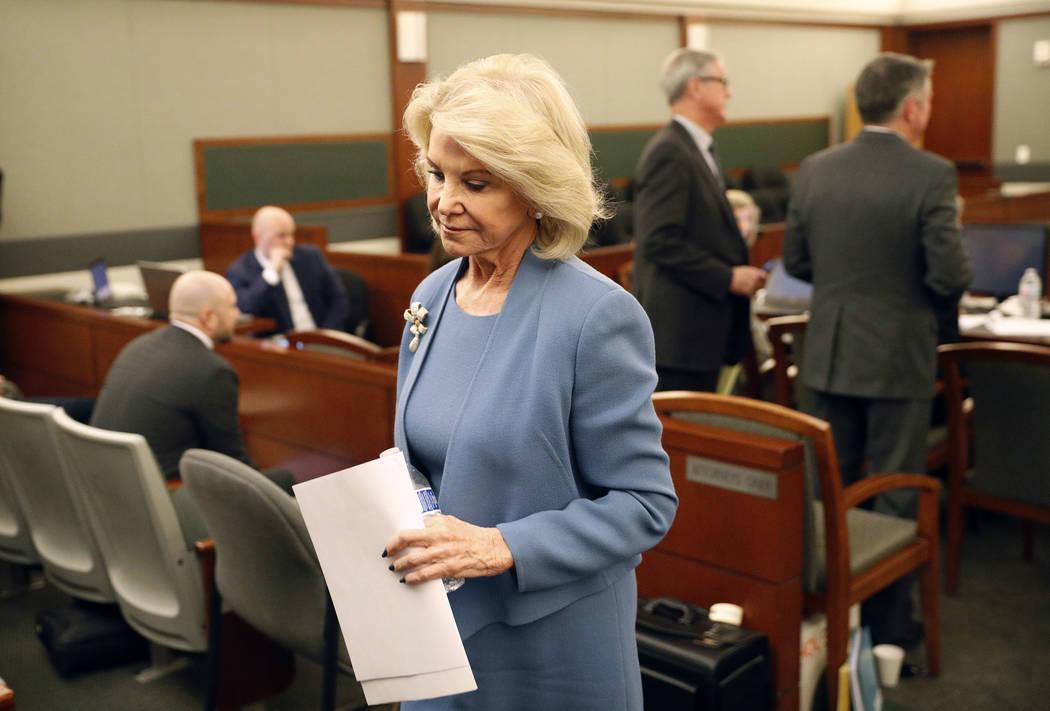 In this March 28, 2018, file photo, Elaine Wynn, ex-wife of Steve Wynn, leaves a hearing in Las ...