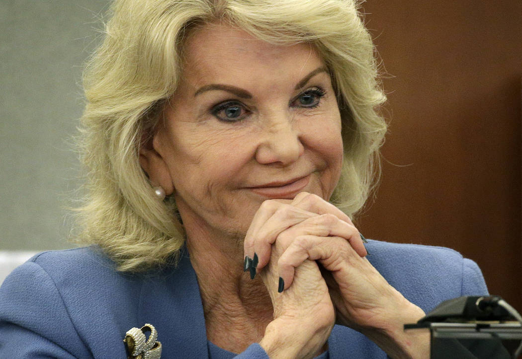 Elaine Wynn, ex-wife of Steve Wynn, listens during a hearing Wednesday, March 28, 2018, in Las ...