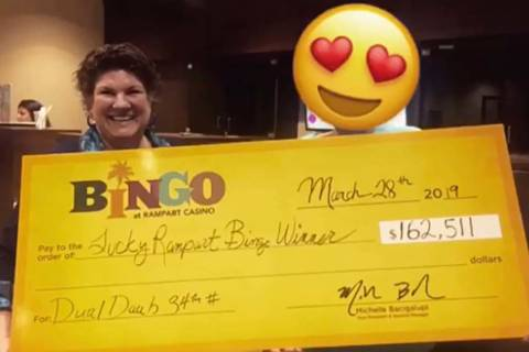 One lucky bingo winner took home a check for $162,511 on March 28, 2019. (Rampart Casino Facebook)
