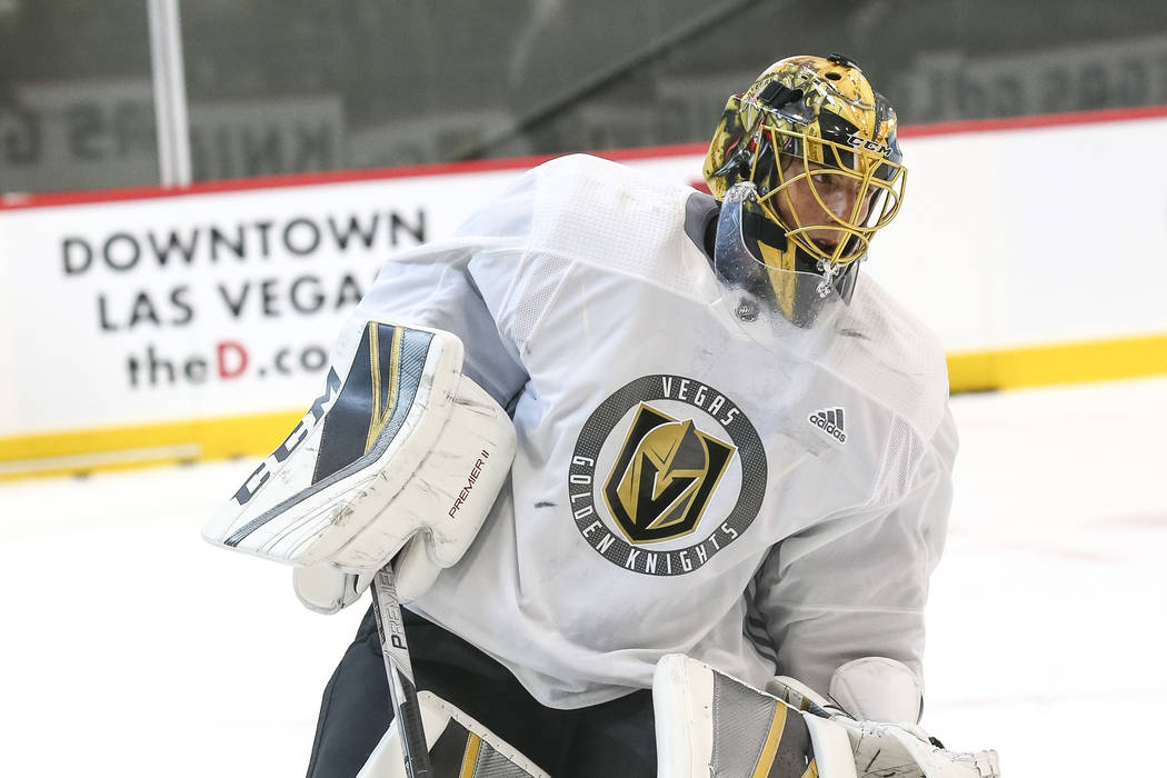 Vegas Golden Knights goalie Marc-Andre Fleury on the ice during team practice at the City Natio ...