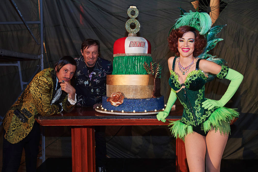 """Performers in """"Absinthe"""" celebrate the eighth anniversary party of the show Monday, April 1 ..."""