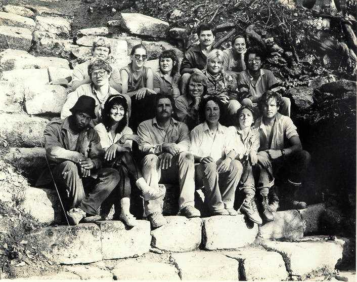Arlen and Diane Chase, in the middle of the front row, pose with the crew from their first fiel ...