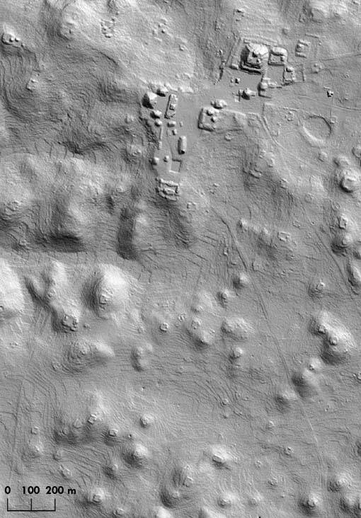 An image produced by LIDAR laser mapping technology shows pyramids and other ruins at the Carac ...