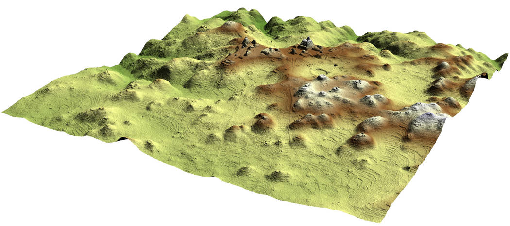 A 3D image produced by LIDAR laser mapping technology shows pyramids and other ruins at the Car ...