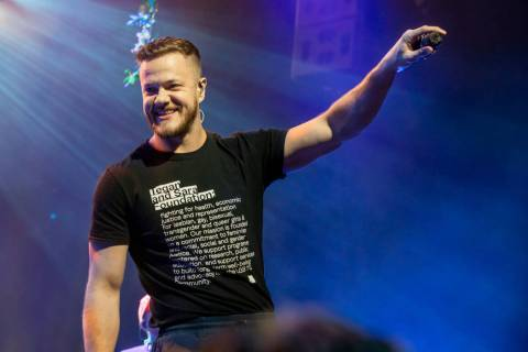 "Dan Reynolds of Imagine Dragons is shown at a fan appreciation show for the release of ""Origins ..."