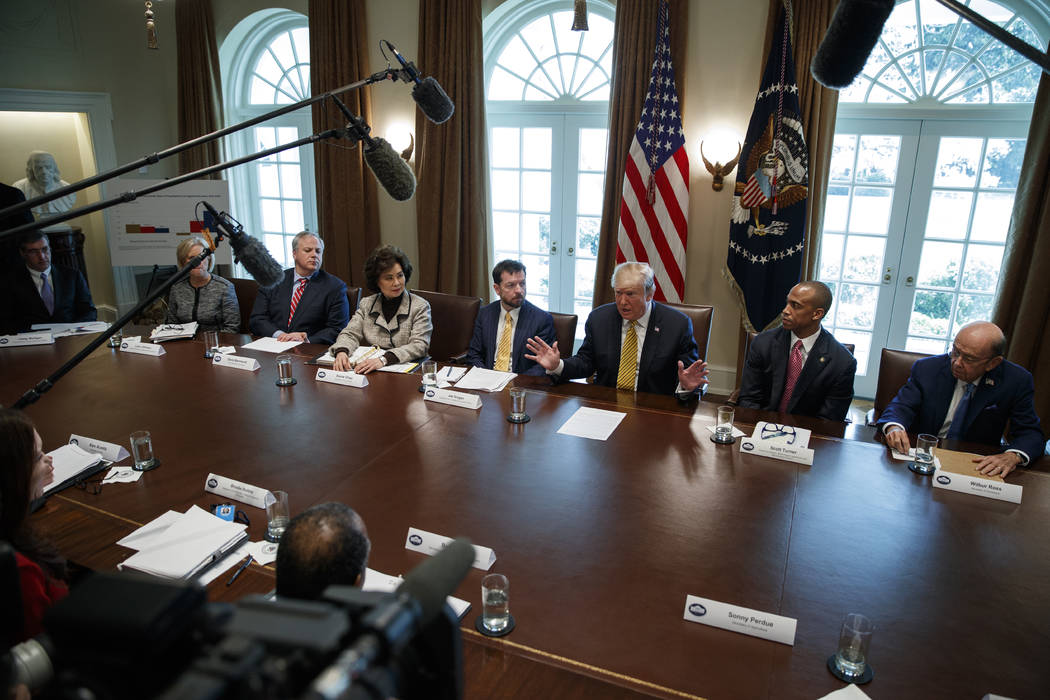 President Donald Trump speaks during the White House Opportunity and Revitalization Council mee ...