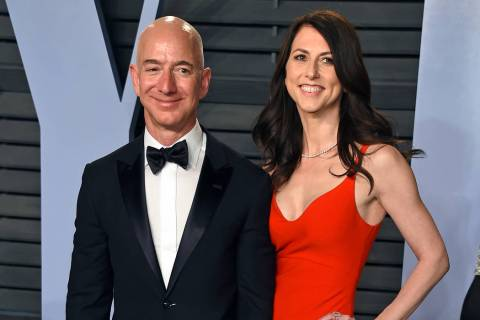 Jeff Bezos and wife MacKenzie Bezos arrive at the Vanity Fair Oscar Party in Beverly Hills, Cal ...