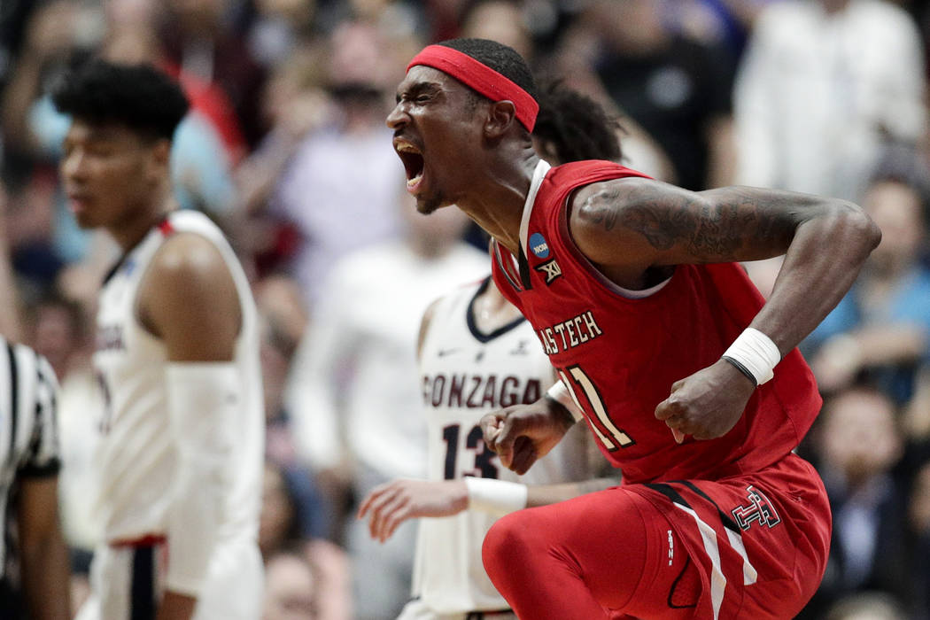 Texas Tech forward Tariq Owens celebrates after a blocked shot against Gonzaga during the secon ...