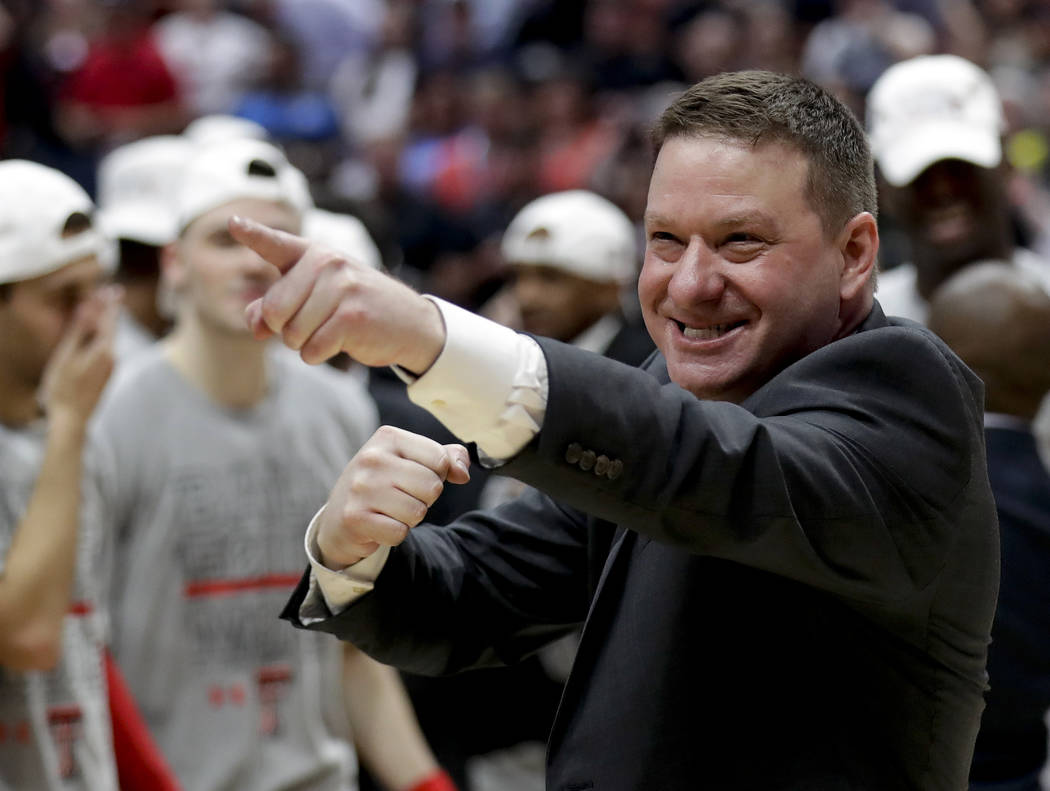 FILE - In this March 30, 2019, file photo, Texas Tech head coach Chris Beard celebrates after t ...