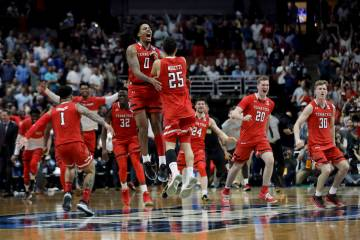 FILE - In this March 30, 2019, file photo, Texas Tech celebrates after a win against Gonzaga in ...