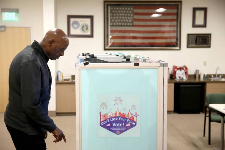 Rafiq Ali, of Las Vegas, votes at City Hall in downtown Las Vegas Thursday, March 28, 2019. (K. ...