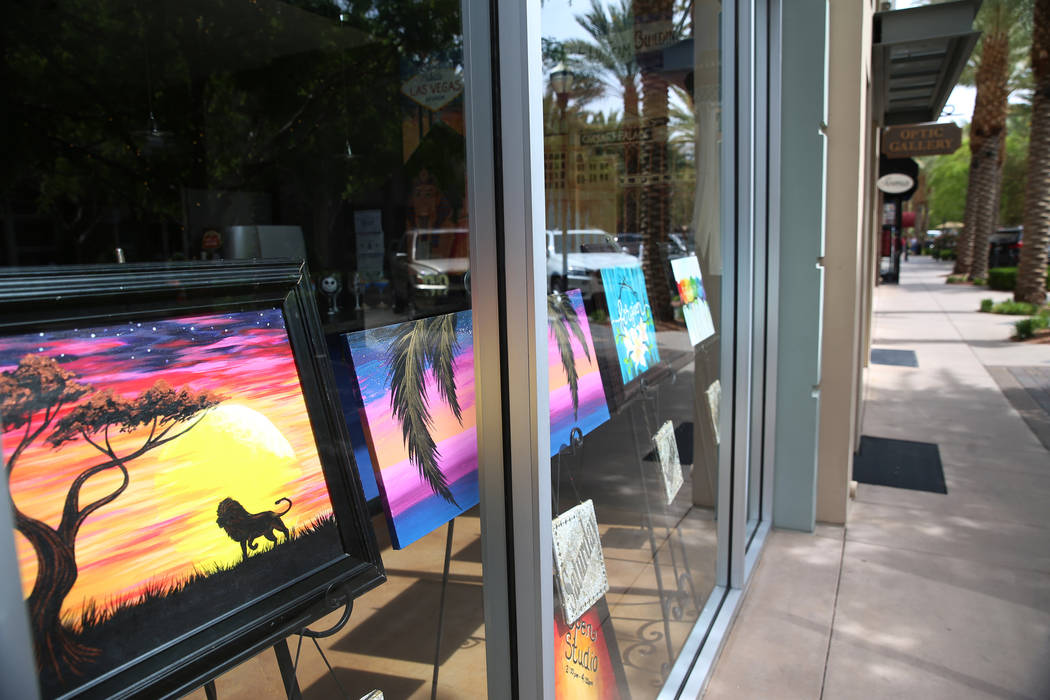 Panting are display inside an art studio at The District in Henderson, Thursday, April 4, 2019. ...