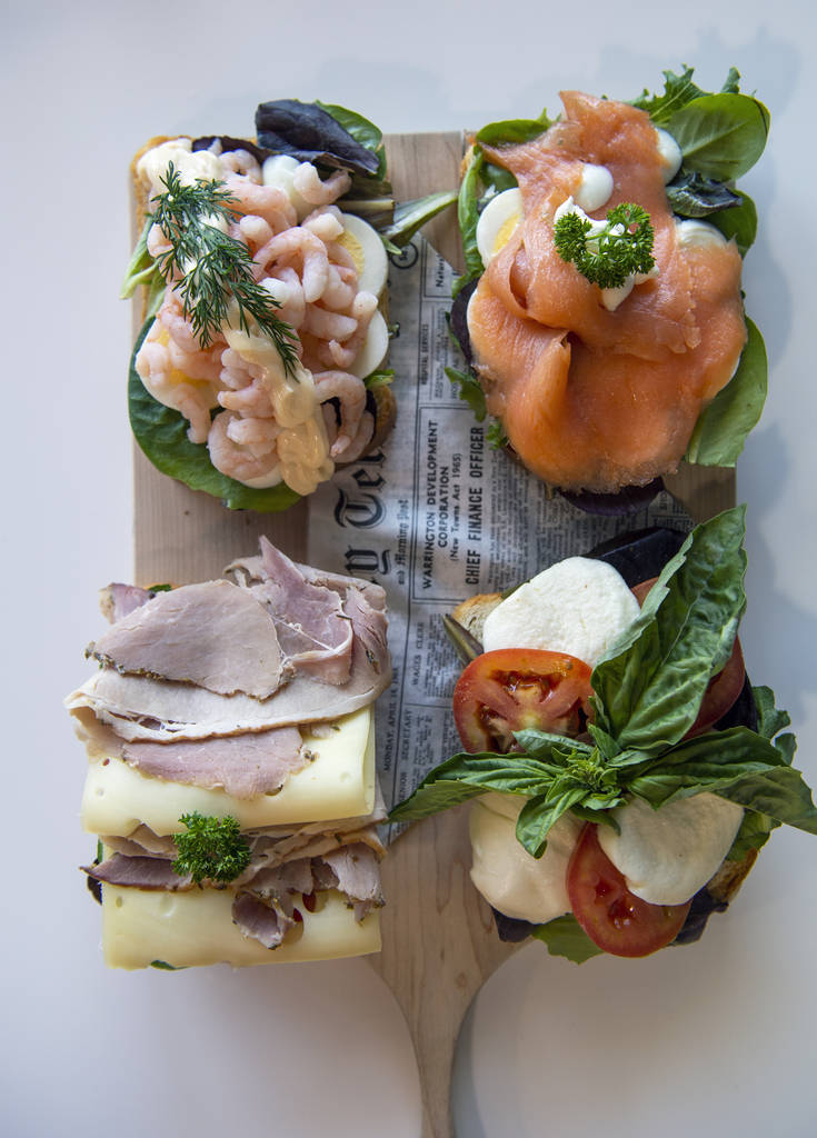 Open faced sandwiches are displayed at Saga Pastry + Sandwich in Las Vegas, Sunday, April 7, 20 ...