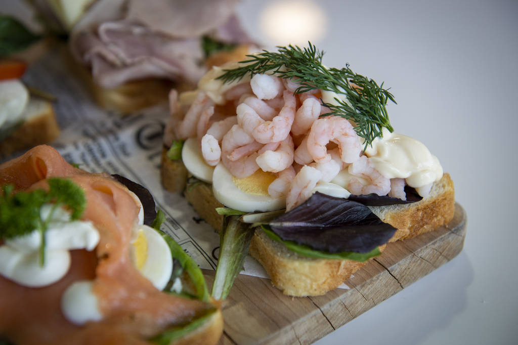 An arctic shrimp sandwich is on display at Saga Pastry + Sandwich in Las Vegas, Sunday, April 7 ...