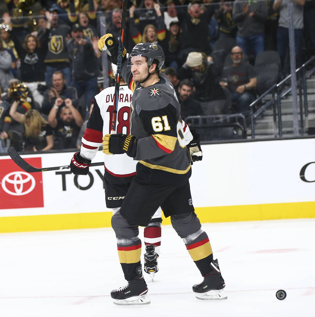Golden Knights right wing Mark Stone (61) celebrates his goal against the Arizona Coyotes durin ...