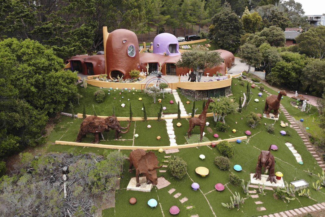This Monday, April 1, 2019 photo, shows an aerial view of the Flintstone House in Hillsborough, ...