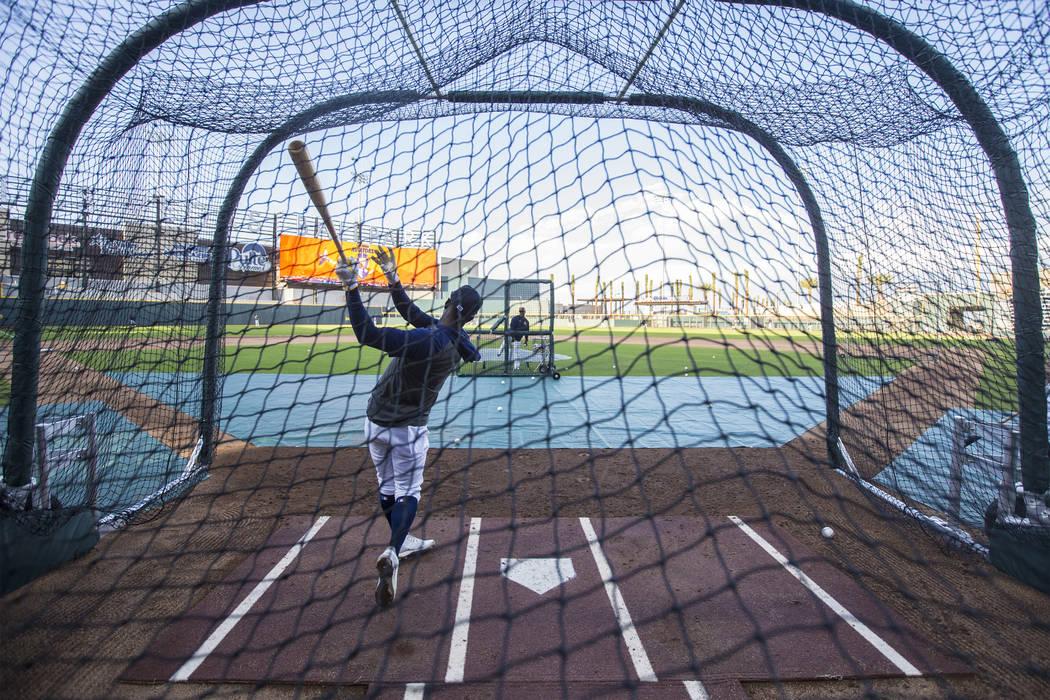 Aviators players take batting practice during media day at Las Vegas Ballpark on Tuesday, April ...