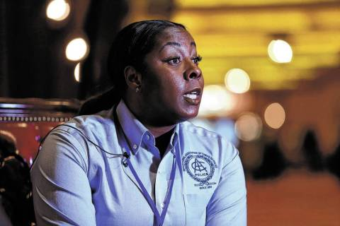 Henderson Police Department Chief LaTesha Watson is interviewed at South Point in Las Vegas, We ...