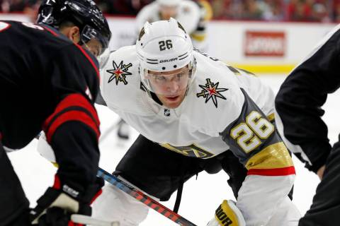 Vegas Golden Knights' Paul Stastny (26) eyes the puck against the Carolina Hurricanes during th ...