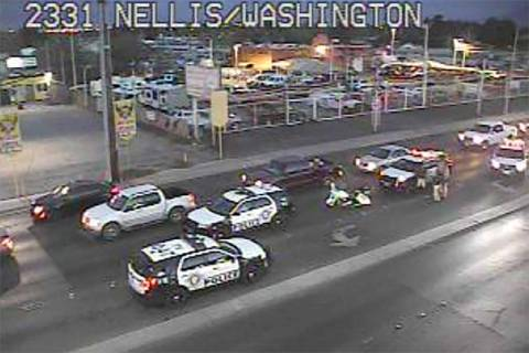 A Metro police car was in involved in a crash early Friday morning, April 5, 2019, at Nellis Bo ...
