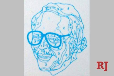 A numbered outline of a self portrait of Dan Robbins, the artist who created the first paint-by ...
