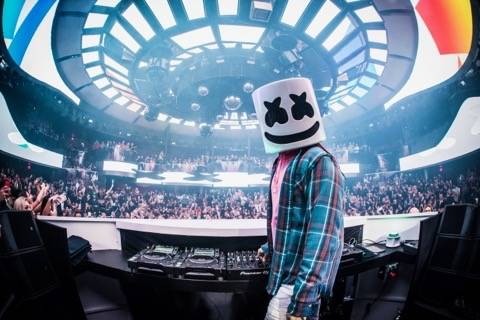 Superstar DJ Marshmello is shown at the industry night preview of Kaos Nightclub and Dayclub at ...