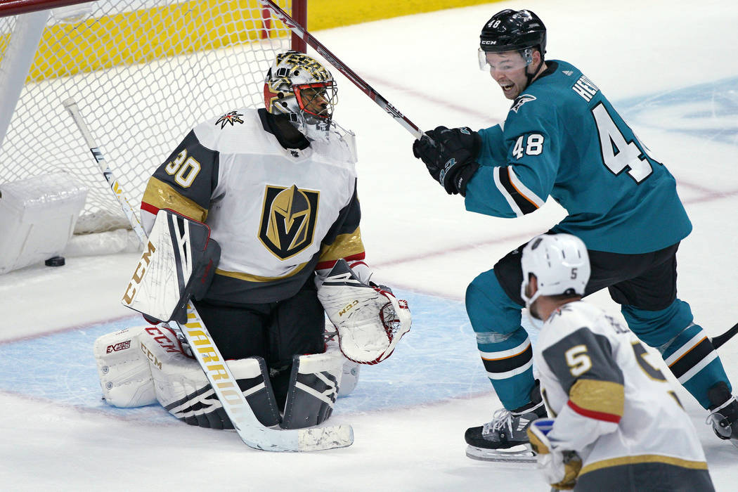 Vegas Golden Knights goaltender Malcolm Subban (30) allows a goal in overtime by San Jose Shark ...