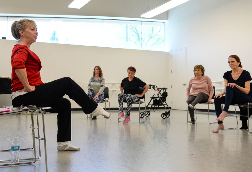 Pamela Lappen leads a ballet class for individuals with Parkinson's disease at the Nevada Balle ...