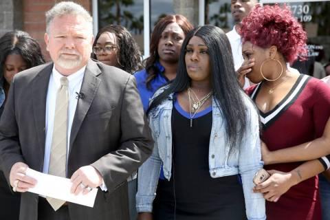 Las Vegas attorney Brent Bryson announces a civil rights lawsuit in Las Vegas on Friday, April ...