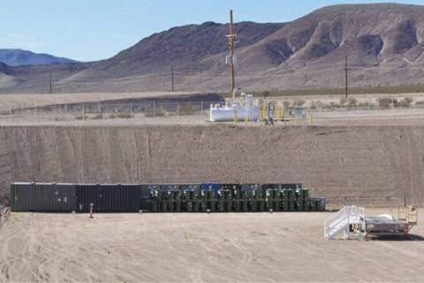 Waste packages are shown at the end of landfill cell in Area 5 at the Nevada National Security ...
