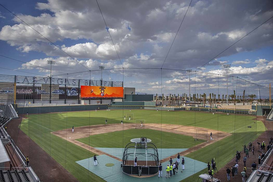 Aviators players work through drills during practice at media day at Las Vegas Ballpark on Tues ...
