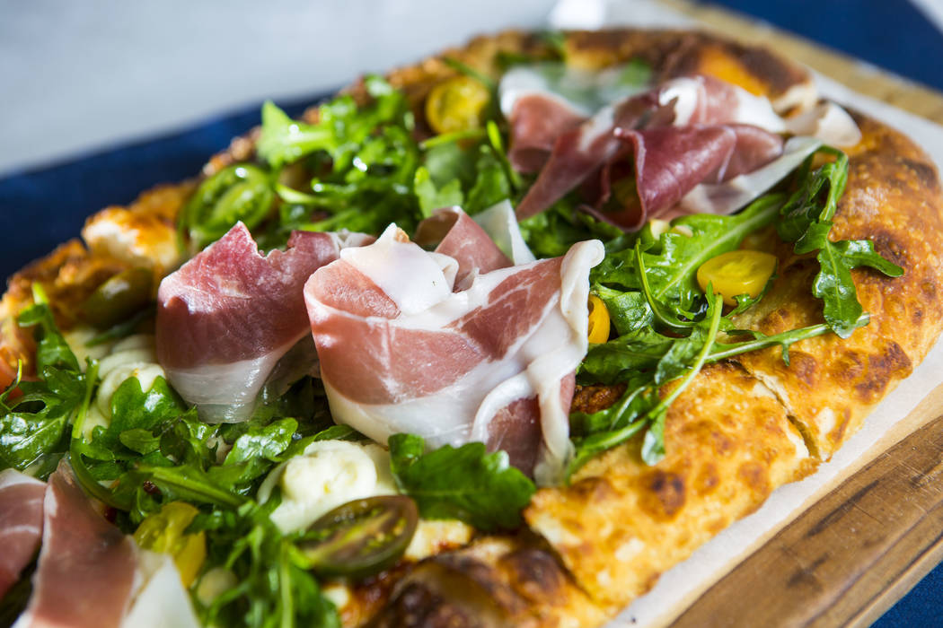 The Vegas Meets Italy pizza at Pizzeria Monzu, 6020 W. Flamingo Road, in Las Vegas. (Chase Stev ...