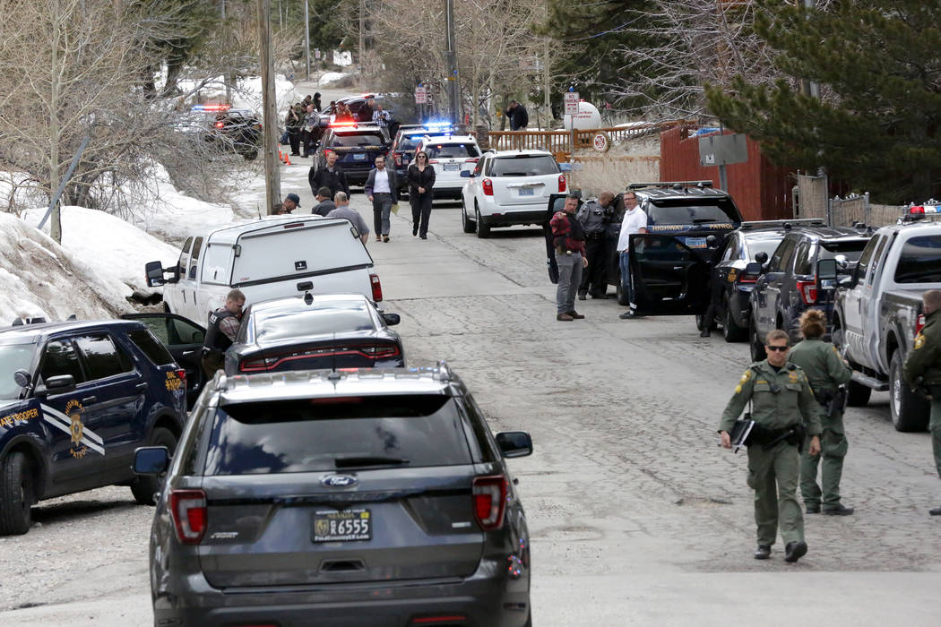 Police investigate officer involved shooting at Mount Charleston on Tuesday, April 2, 2019. (Mi ...